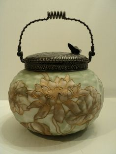 "RARE MT. WASHINGTON ""CROWN MILANO"" ART GLASS CRACKER JAR / BISCUIT"