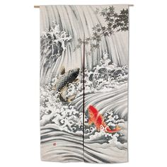 Noren carpe Koi no takinobori cotone e rayon Japanese Art Modern, Japanese Koi, Noren Curtains, Door Curtains, Maneki Neko, Modern Tapestries, Carpe Koi, Koi Carp, Tapestry Design