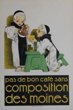 Cafe-COMPOSITION-DES-MOINES-Affiche-originale-entoilee-Litho-Rene-VINCENT-1925