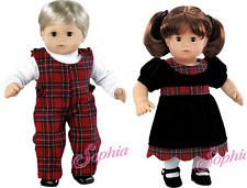 MATCHING BOY GIRL Plaid/Velvet Outfits made for BITTY BABY + TWINS Doll Clothes