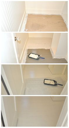 DIY: How to Paint Wood Floors White (Revisited) - House Updated White Painted Wood Floors, White Washed Floors, Cork Flooring, Wooden Flooring, Painting On Wood, Floor Painting, Painting Tips, White Chalk Paint, Wood Planks
