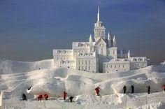 Castle snow sculpture