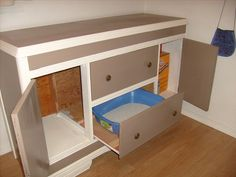 """guaranteed to stop your dogs from digging for """"treat"""" in the litter box! Litter box dresser!"""