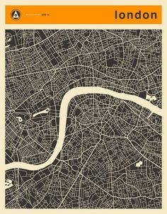 London Map Art Print by Jazzberry Blue - X-Small London Poster, London Map, London Blue, Buch Design, Map Design, London Drawing, London Illustration, Paris Map, Uk Images
