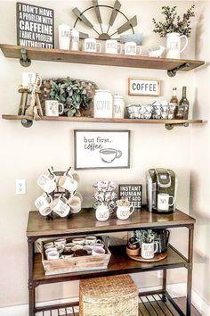 Coffee Bars In Kitchen, Coffee Bar Home, Diy Coffe Bar, Coffee Kitchen Decor, Coffee Bar Ideas, Coffee Bar Station, Tea Station, Coffee Stations, Coffee Room
