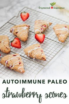 These Autoimmune Paleo Scones feature fresh strawberries vanilla and a coconut glaze. The Autoimmune Paleo Protocol is gluten-free dairy-free egg-free nut-free seed-free and nightshade-free to promote recovery from autoimmune diseases. Dairy Free Eggs, Egg Free, Paleo Recipes, Whole Food Recipes, Free Recipes, Health Blog, Cake Mug, Autoimmune Paleo, Paleo Breakfast