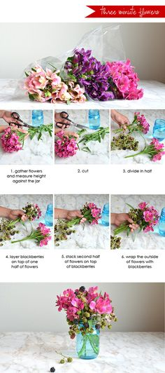 Love fresh flowers? Learn how to make a beautiful arrangement in just three minutes See the full post on Style Spotters: http://www.bhg.com/blogs/better-homes-and-gardens-style-blog/2013/08/16/three-minute-flower-arranging-with-alexandra-hedin/?socsrc=bhgpin081613flowers
