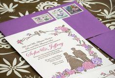 Purple-Pink-Silhouette-Custom-Wedding-Invitations-Papillon-Press2