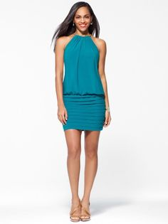 Green Pleated Halter Dress #CacheStyle