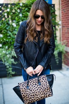 leather jacket and leopard bag #leopard #leather