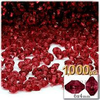 Plastic Rondelle Beads, Transparent, 6mm, 1,000-pc, Raspberry Red