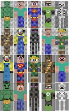 Minecraft, various characters and players. Knitting, crochet, and cross stitch charts. Free PDF downloads. Enderman, Herobrine, Steve, Skeleton, Zombie, Minions, Chewbacca, Link, Superman, Green Lantern