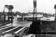 German Kriegsmarine Battleship Tirpitz Being Launched #Tirpitz #Battleship #Kriegsmarine #GermanBattleship