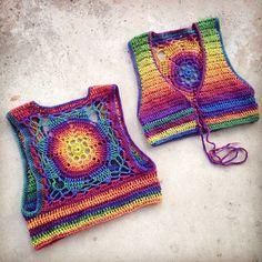 Luna Mandala Vest Rainbow Crochet Bolero Large