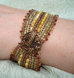 Herringbone stitch bracelet with toho beads