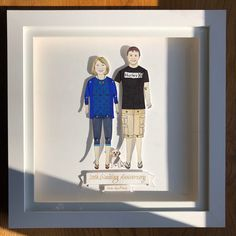 chunkydumpling shared a new photo on Etsy Pen And Watercolor, Watercolor Pencils, Wedding Anniversary, Anniversary Gifts, Deep Box Frames, Sharpie Pens, Portrait Illustration, Paper Dolls, My Drawings