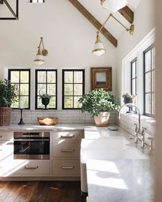 white, open kitchen with lots of windows and green plants, dark wood floors, neutral, minimalist decor