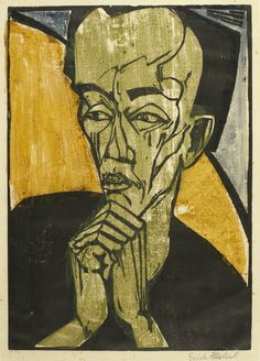 Erich Heckel (1883 - 1970) - MÄNNERBILDNIS Woodcut printed in black, blue, green and ochre, the colours printed in the manner of a monotype, 1919