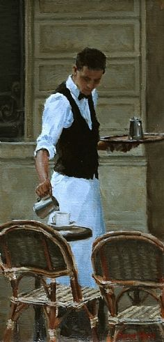 Pauline Roche, Parisian Waiter, Oil on linen, 12 x 5.5. Private collection.