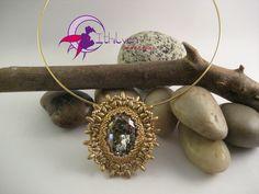 "Girocollo ""Gold"" con ovale Swarovski Golden Crystal Patina, SuperDuo e Rizo : Collane di ithilyen-heartbeatjoux"