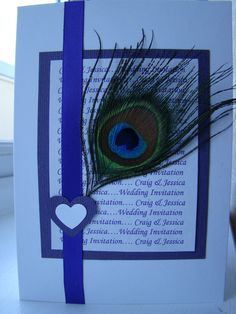 Handmade Personalised Peacock Feather Wedding Invitations by Tauntonmumstheword, 10 For £20.00