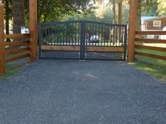 Custom Aluminum Driveway Gate Cedar Board Insert Powder-Coated www.westcoastgates.ca