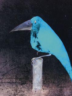 Christine Nöhmeier: Blauer Vogel - Leinwandbild auf Keilrahmen Leinwandbilder