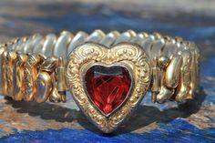 Vintage Gold Filled Co Star Expansion Bracelet w Red Faceted Jewel Heart | eBay