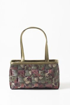 """This is Mickey as you've never seen him before. In fact, you can't see him… where did he go? There he is hiding in this camo print! Hand woven and accented in seatbelt. Fully lined with inner zip pocket and extra slip pockets for storage. Features top carry handles and zip top.Monogrammed interior lining.    Measures: 13.5"""" L x 7"""" H x 4"""" W; 11"""" handle drop   Disney Large Satchel by Harvey's Seatbelt Bags. Bags - Shoulder & Hobo Omaha, Nebraska"""