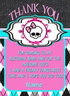 Thank You Card-DIY-Custom-Personalized-Monster HIgh