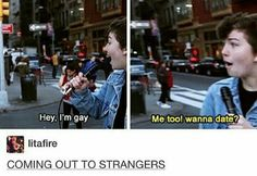 If anyone wants to watch this it's called coming out to strangers by Amanda's chronicles- Isabelle << it's miles chronicles now ;) or miles McKenna - alienellaa Lgbt Memes, Funny Memes, Amandas Chronicles, Miles Chronicles, Miles Mckenna, Faith In Humanity, Gay Pride, Tumblr Funny, In This World