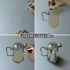 Hyperrealistic drawing of a silver pitcher, mixed media on gray paper by Marcello Barenghi.