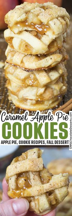 Apple Pie Cookies are one of my absolute favorite fall desserts.They are like mini apple pies but in a delicious cookie! #apple #pie #cookies