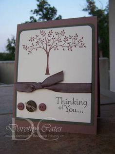 This is a quick card that I made for a neighbor.  He went to the ER overnight and is getting his appendix removed.    I used Thoughts & Prayers for this card, I love that stamp set!  I stamped the tree in close to cocoa and the sentiment in always artichoke.  The buttons are attached with mini glue dots and I used some linen thread through the center button.  I used the choc. chip tafetta ribbon.  Even though it isn't a perfect match, I think it works.  Thanks for looking!