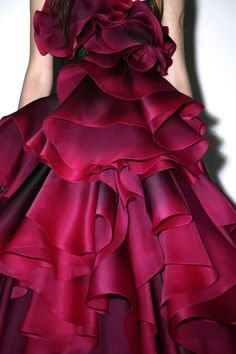 Marchesa -  these ruffles look like real red rose petals...so beautiful...
