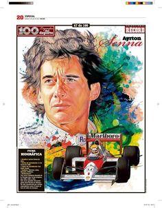 Ayrton Senna 100 Leyendas del Deporte / 100 Sports Legends by Jesús R. Sánchez, via Behance