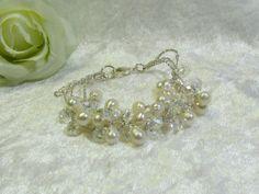 Bridal bracelet wedding Jewelry Crystal by Asnatjewelry on Etsy
