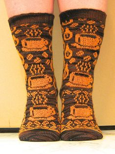 Ravelry: Gimme Coffee pattern by Karin Aida Stranded knitting free pattern sock