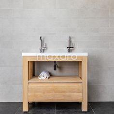 Landelijk badkamermeubel met wasbak en dubbele kraan. Vanity, Bathroom, Dressing Tables, Washroom, Powder Room, Vanity Set, Bath Room, Single Vanities, Bath