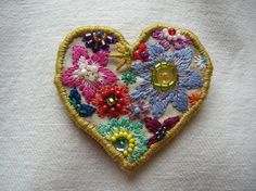the cutest little floral stitched heart