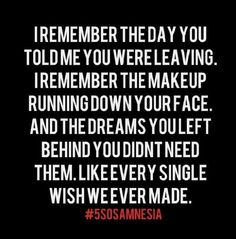 I wish that I could wake up with amnesia, and forget about the stupid little things. Like the way it felt to fall asleep next to you, and the memories I never can escape. Cause I'm not fine at all. -Amnesia (5 Seconds of Summer)