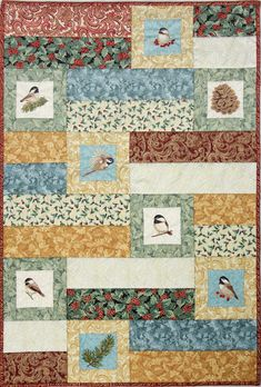 Oesd Chickadees And Berries Quilted Christmas Benartex