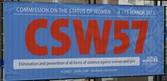 Welcome banner outside the UN