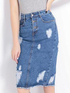 Blue, Ripped, High Waist, Button Up, Denim, Pencil Skirt