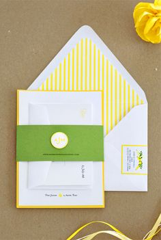 Oh So Beautiful Paper: Anna + Mark's Preppy Yellow and Green Wedding Invitations Wedding Paper, Red Wedding, Summer Wedding, Wedding Colors, Wedding Stuff, Yellow Wedding Invitations, Wedding Stationary, Packers Wedding, Invitation Cards