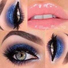 Sparkly blue and silver smokey eye