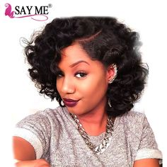 ==> [Free Shipping] Buy Best Unprocessed Peruvian Bouncy Curly Hair 100g Virgin Human Hair Weaves Short Bob Style Natural Black Extensions SAY ME Online with LOWEST Price | 32817529287