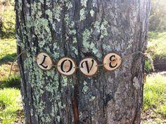 3-4 Rustic Wedding Wood Slices Banner LOVE by RusticWeddingSupply