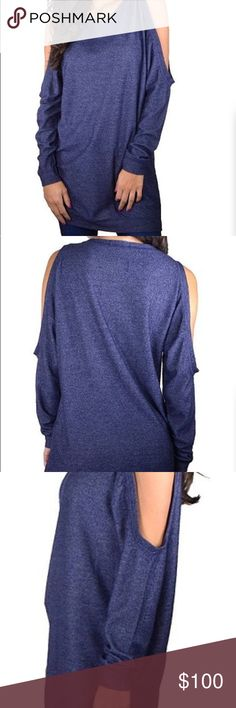 COMING SOON cold shoulder tunic Made In U.S.A  Size available: small  96% Rayon 4% Spandex  Navy Tops Tunics