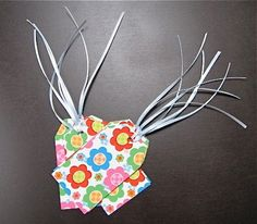 8 Bright Flower Gift Tags with Ribbon Tie by NanaLetha on Etsy, $2.25